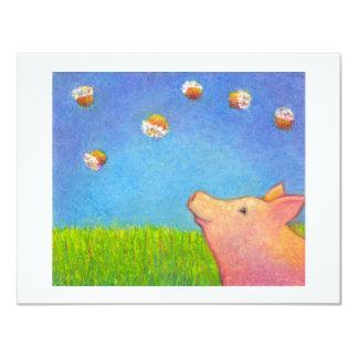 Cupcakes cute dreaming pig fun colorful unique art card