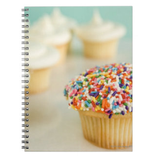 Cupcakes, focus on one in front with notebook