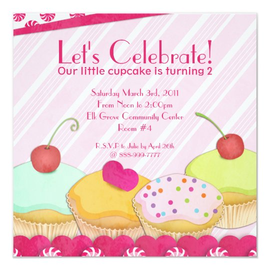 Cupcakes Galore! Birthday Party Invitation
