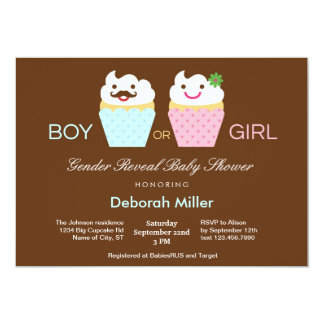 Cupcakes Gender Reveal Baby Shower 5x7 Paper Invitation Card