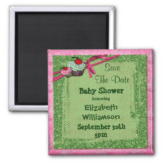 Cupcakes & Glitter Baby Shower Save The Date Fridge Magnet