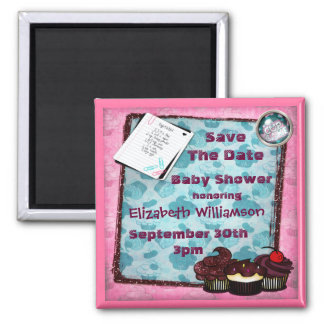 Cupcakes & Glitter Baby Shower Save The Date Magnets