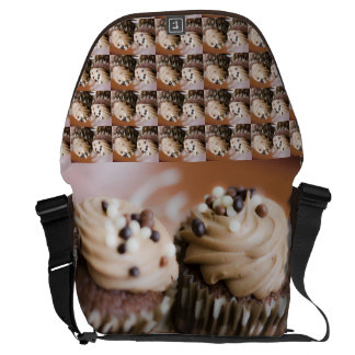 Cupcakes hearts love sweets dessert cake chef messenger bag