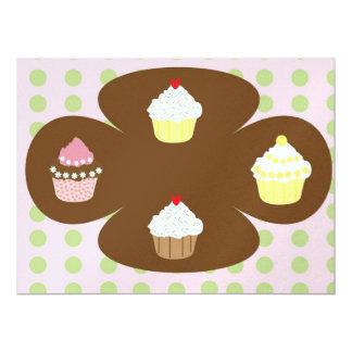 "Cupcakes illustration 6.5"" x 8.75"" invitation card"