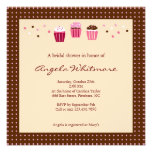 Cupcakes in Pink, Brown and Cream Personalized Invitations