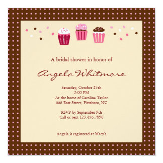 """Cupcakes in Pink, Brown and Cream 5.25"""" Square Invitation Card"""