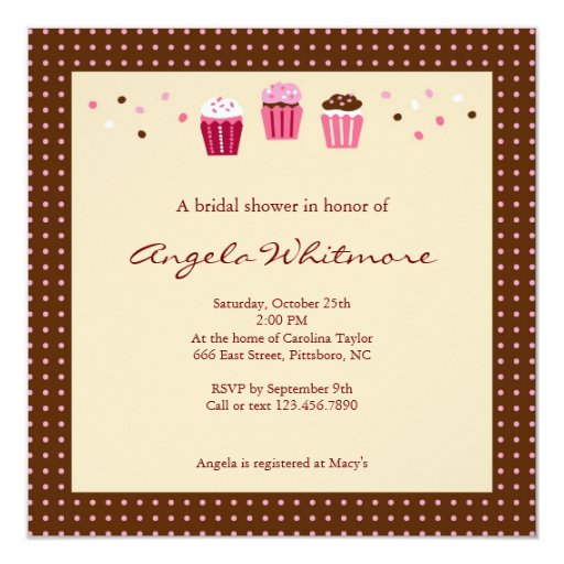 Cupcakes in Pink, Brown and Cream 5.25x5.25 Square Paper Invitation Card