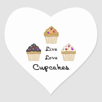 Cupcakes Live Love Heart Sticker