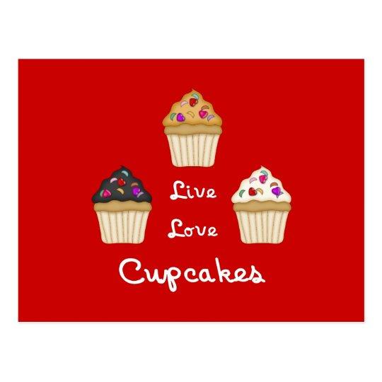 Cupcakes Live Love Postcard