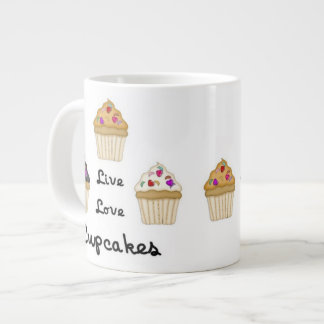Cupcakes Live Love Extra Large Mugs