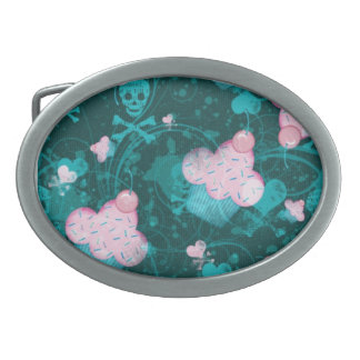Cupcakes, love and SKULLS!! Oval Belt Buckles