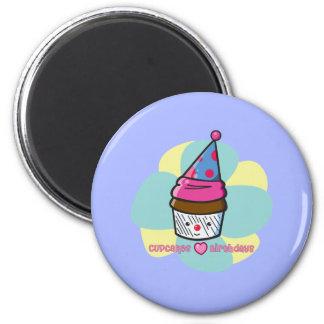 Cupcakes Love Birthdays 2 Inch Round Magnet