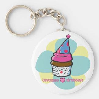 Cupcakes Love Birthdays Basic Round Button Keychain