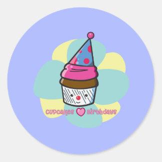 Cupcakes Love Birthdays Classic Round Sticker