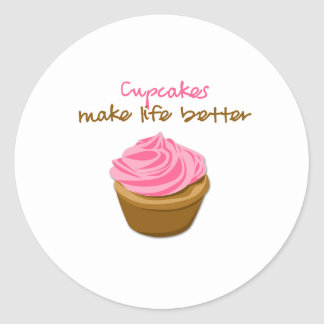 Cupcakes Make Life Better Classic Round Sticker