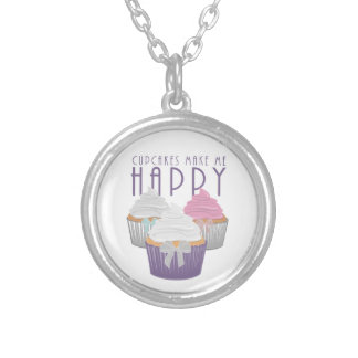 Cupcakes Make Me Happy Silver Plated Necklace