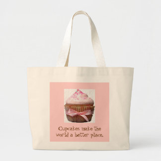 Cupcakes make the world a better place large tote bag