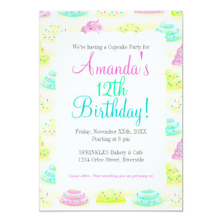 Cupcakes N Sprinkles Custom Party Invitations