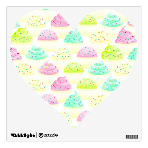 Cupcakes N Sprinkles Heart Wall Cling Wall Skin