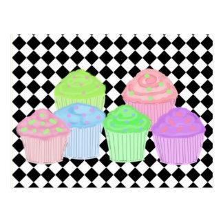 Cupcakes on a Black Diamond Background Postcard