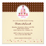 Cupcakes on a Stand (Brown/Cream) 5.25x5.25 Square Paper Invitation Card
