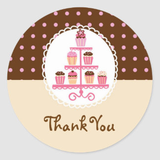 Cupcakes On A Stand Favor Sticker