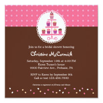 Cupcakes on a Stand (Pink / Brown) 5.25x5.25 Square Paper Invitation Card