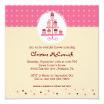 Cupcakes on a Stand (Pink / Cream) 5.25x5.25 Square Paper Invitation Card