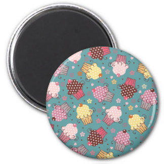 Cupcakes on Blue 2 Inch Round Magnet