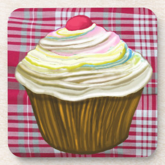 CUPCAKES ON RED TABLECLOTH, CUPCAKE DRAWING BEVERAGE COASTER