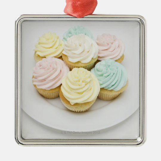 Cupcakes on White Plate Metal Ornament