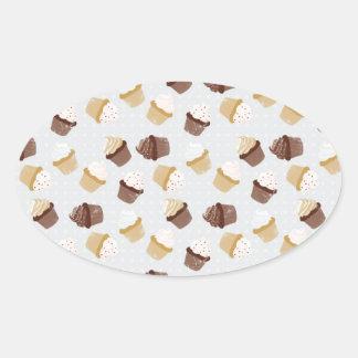 Cupcakes Oval Sticker