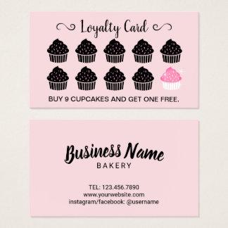 Cupcakes Pastry Bakery Blush Pink Loyalty Reward Business Card
