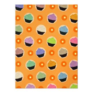 "Cupcakes pattern 6.5"" x 8.75"" invitation card"