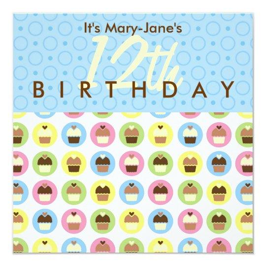 Cupcakes Personalised Birthday Invitation