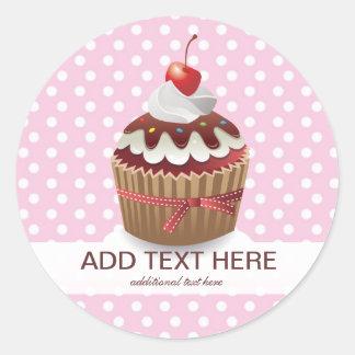 Cupcakes Pink Sweet Polka Dots Custom Stickers