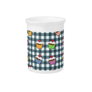 Cupcakes plaid pattern drink pitcher
