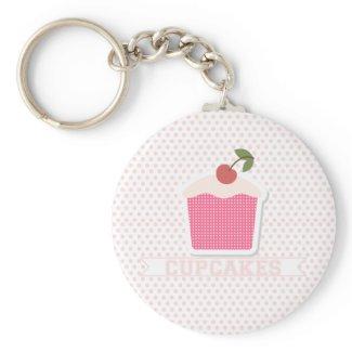 Cupcakes & Polka Dots Keychain