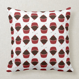 Cupcakes Red Cherry Chocolate Party Cupcake Throw Pillow