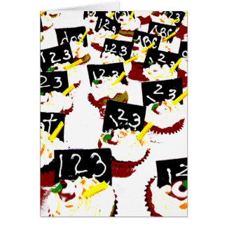 Cupcakes school clear background greeting card