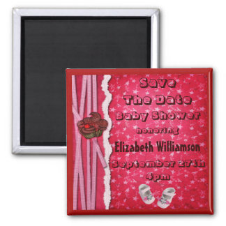 Cupcakes & Shoes Baby Shower Save The Date 2 Inch Square Magnet