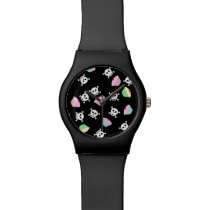 Cupcakes & Skulls Emo Kawaii Pattern Wrist Watch