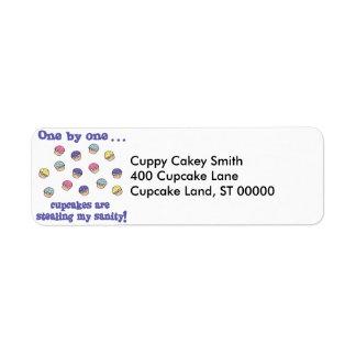 Cupcakes Stealing my Sanity Return Address Label