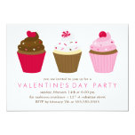 Cupcakes Valentines Day Party 5x7 Paper Invitation Card