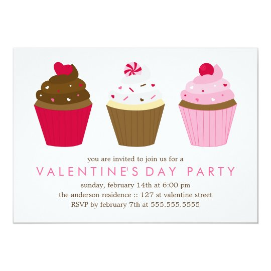 Cupcakes Valentines Day Party Card
