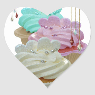Cupcakes with Bling! Heart Sticker