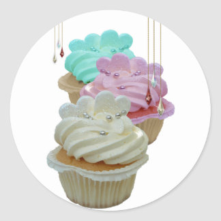 Cupcakes with Bling Round Sticker