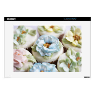 Cupcakes with flower icing laptop decals
