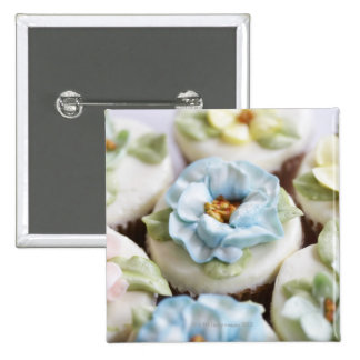 Cupcakes with flower icing pinback button
