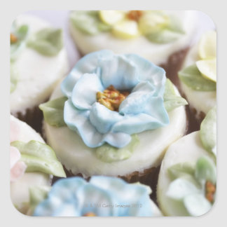 Cupcakes with flower icing square sticker